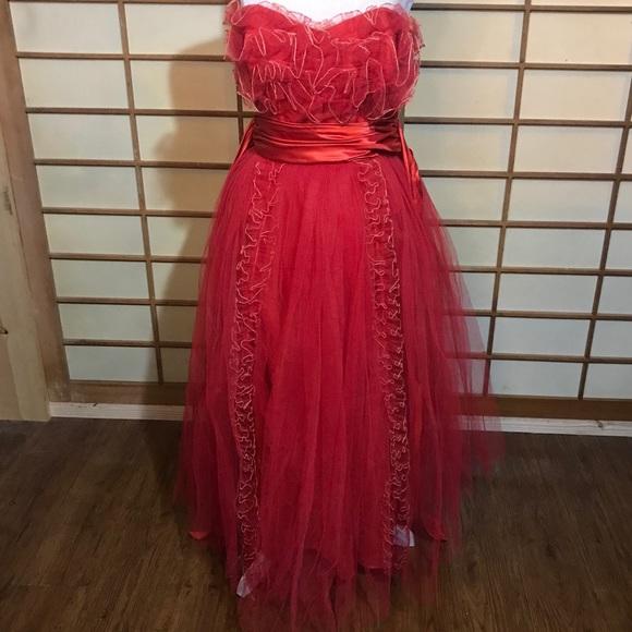 Vintage Dresses & Skirts - vintage red tulle prom dress vlv 50s rockabilly